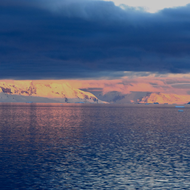 """Dramatic Antarctic sunset"" stock image"
