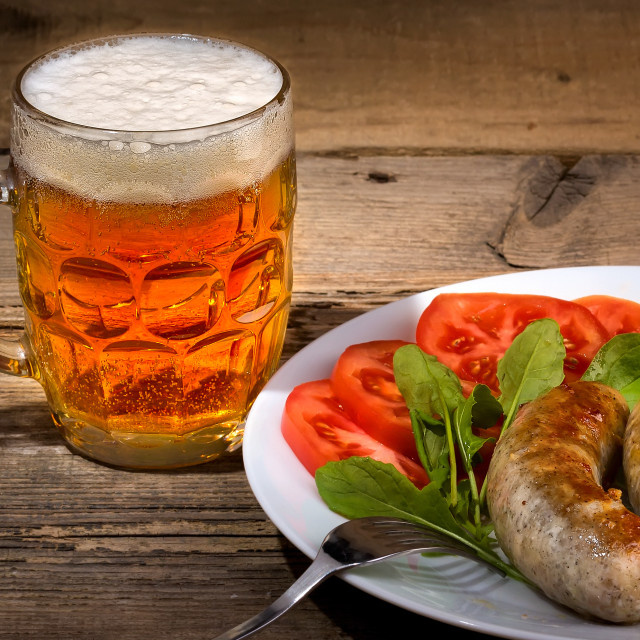 """""""Glass of draft beer and sausages"""" stock image"""