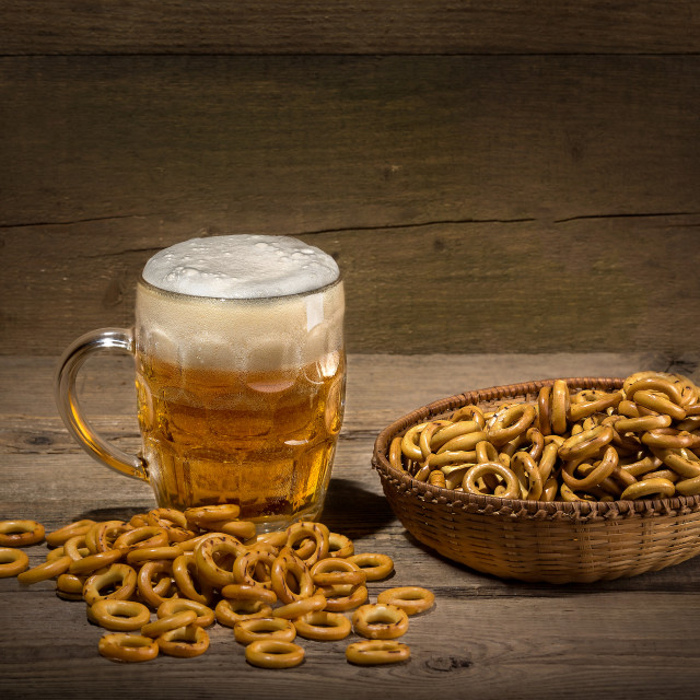 """""""Glass of draft beer and chips"""" stock image"""