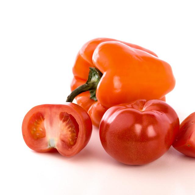 """Tomatoes on white background"" stock image"