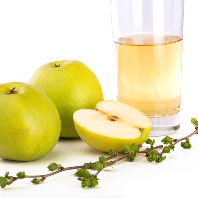"""""""Apples and glass of apple juice"""" stock image"""