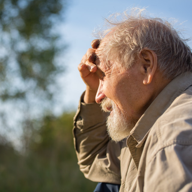 """Portrait of senior outdoor"" stock image"