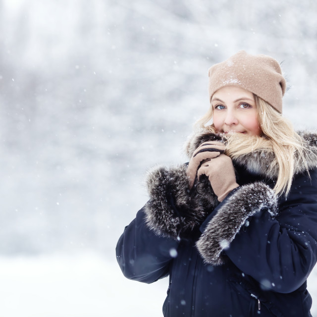 """""""Pretty blonde woman in winter forest"""" stock image"""