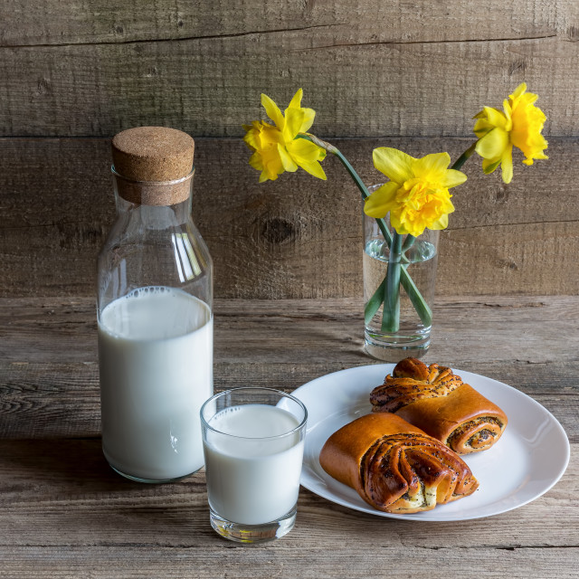 """""""Bottle and glass of milk, pans and eggs"""" stock image"""