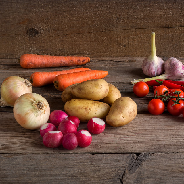 """""""Vegetableson wood background"""" stock image"""
