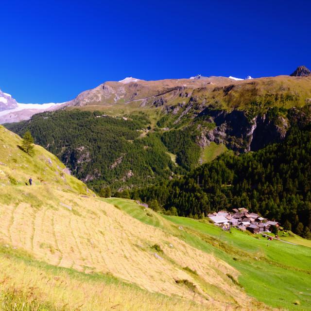"""""""Mountain Rural Landscape in Swiss Alps between Zermatt and Matterhorn"""" stock image"""