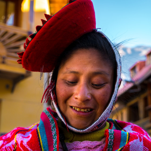 """Traditional Peruvian woman in Ollantaytambo, Peru"" stock image"