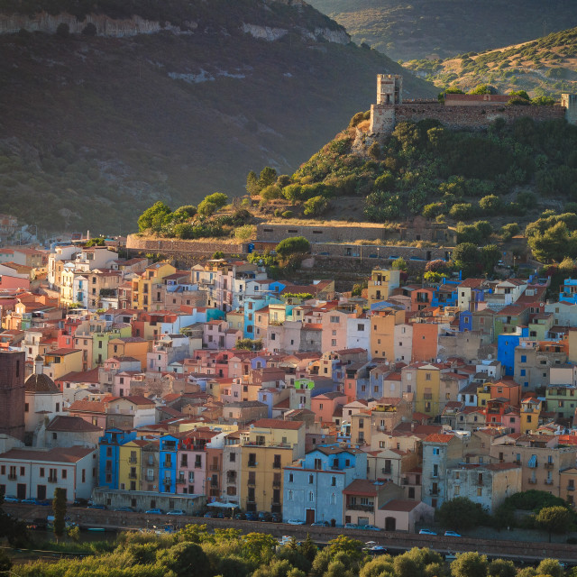 """Bosa, Sardinia in the evening light."" stock image"