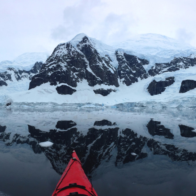 """Sea Kayaking in Antarctica"" stock image"