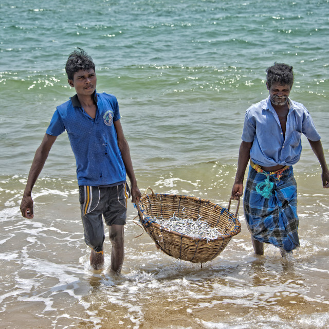 """Fishermen near Dolphin Beach, Sri Lanka"" stock image"