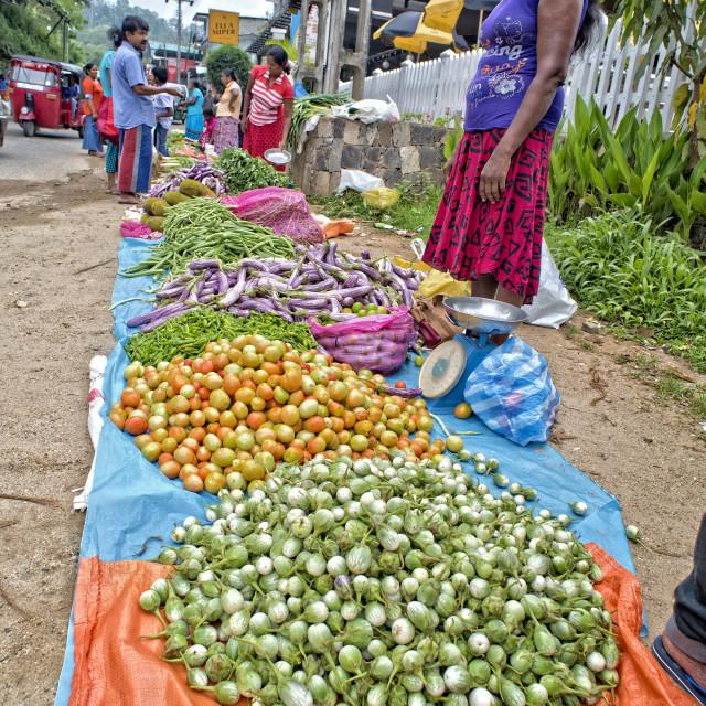 """""""Market in Ella; Sri Lanka"""" stock image"""