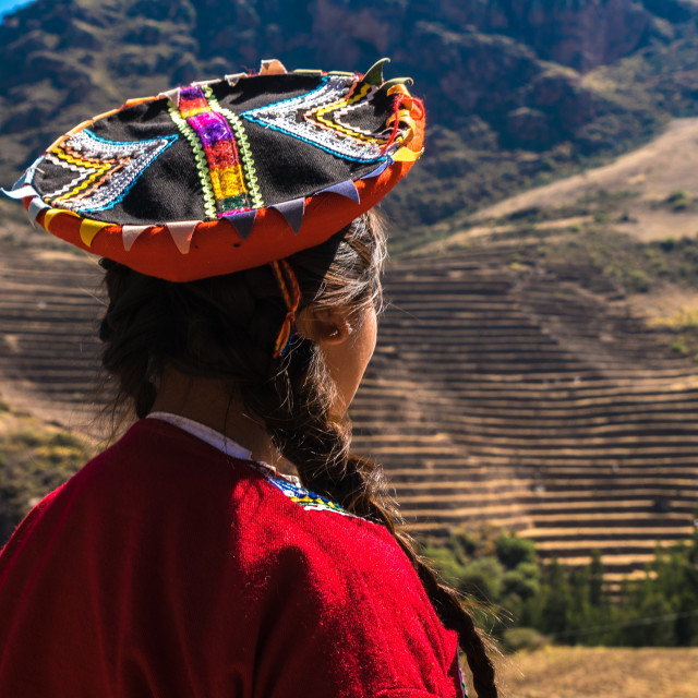 """Native Peruvian girl in Sacred Valley, Cusco, Peru"" stock image"