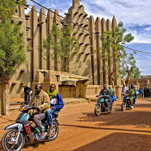 """Motorbikes & mosque - Mopti, Mali, Africa"" stock image"