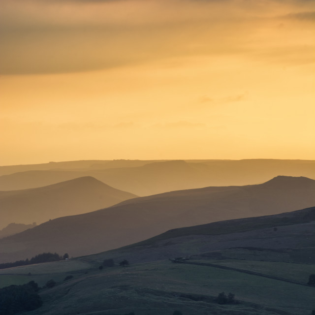 """Sun setting over the Peak District National Park, England."" stock image"