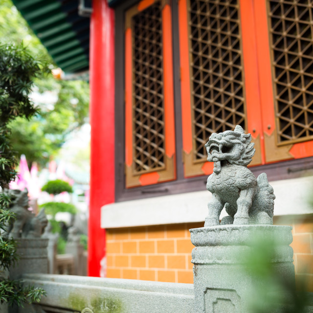 """Traditional Chinese stone lion"" stock image"