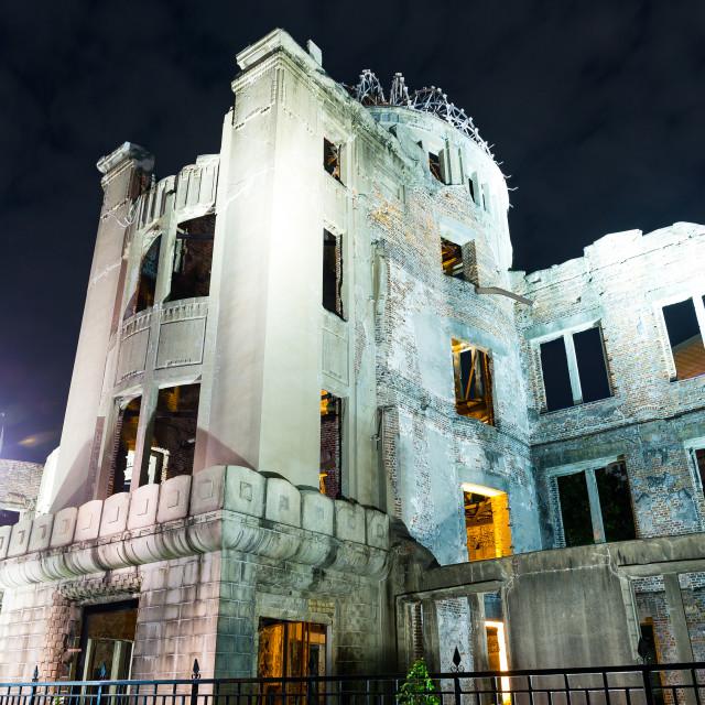 """Bomb Dome in Hiroshima of Japan at night"" stock image"