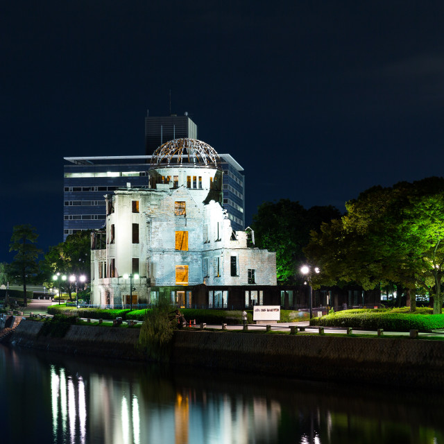 """A bomb dome in Hiroshima of Japan at night"" stock image"
