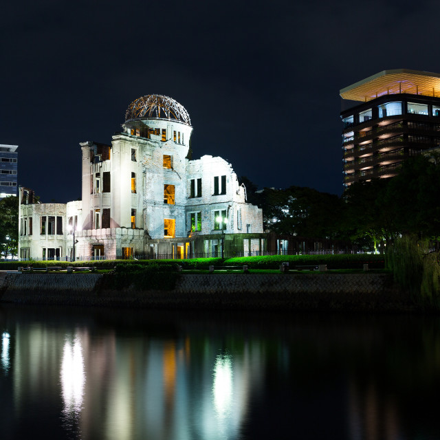 """Atomic bomb dome in Hiroshima at night"" stock image"