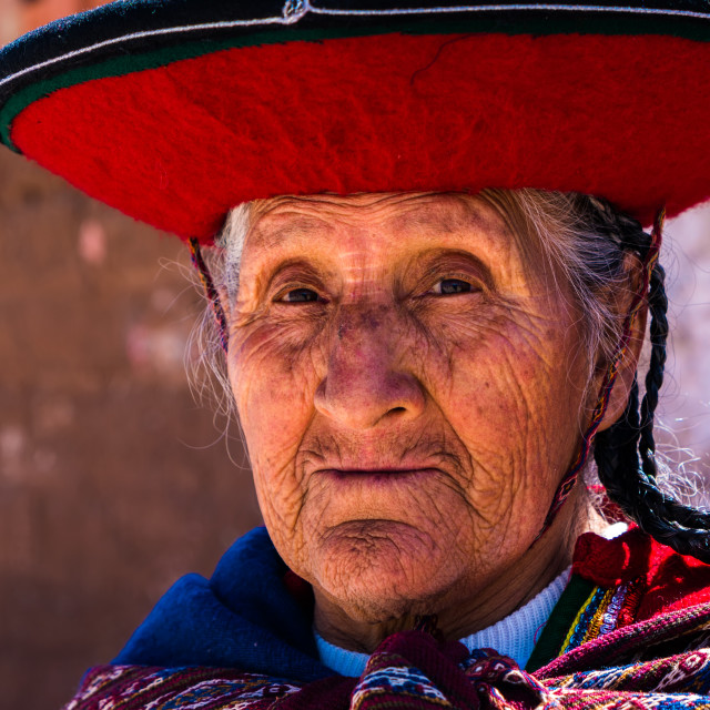 """""""Peruvian traditional old woman (Quechua lady) in the street of Chinchero, Peru"""" stock image"""