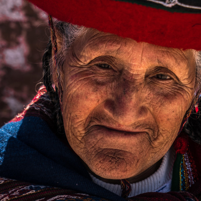 """Peruvian traditional old woman (Quechua lady) in the street of Chinchero, Peru"" stock image"