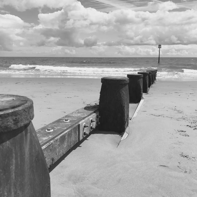 """Groyne Sea Defences at Dawlish Warren, South Devon"" stock image"