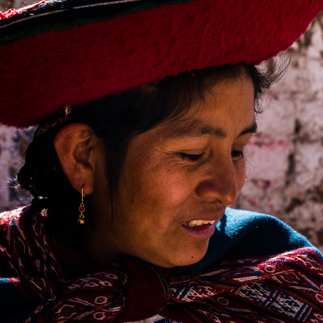 """""""Peruvian traditional young woman (Quechua lady) in the street of Chinchero, Peru"""" stock image"""