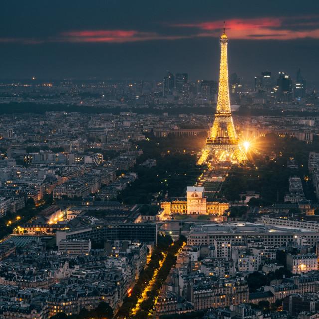 """""""Eiffel Tower Dusk, Paris"""" stock image"""