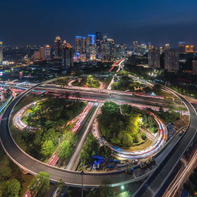 """Jakarta: Semanggi Roundabout in the evening"" stock image"