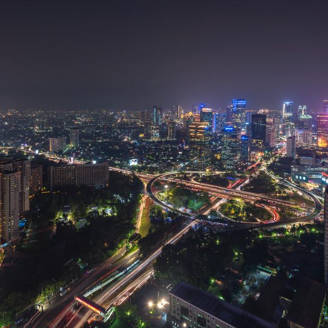 """""""Jakarta: The iconic Semanggi roundabout in the evening"""" stock image"""