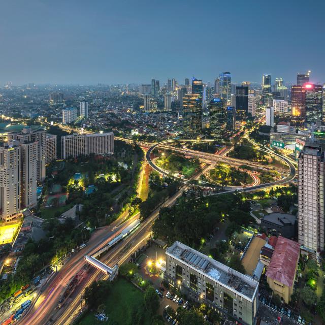 """""""Jakarta: iconic Semanggi Roundabout"""" stock image"""