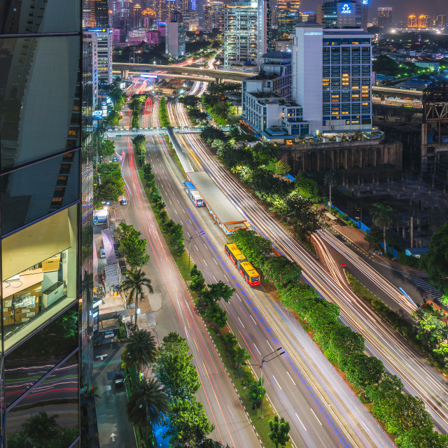 """Jakarta: Sudirman bus stop"" stock image"