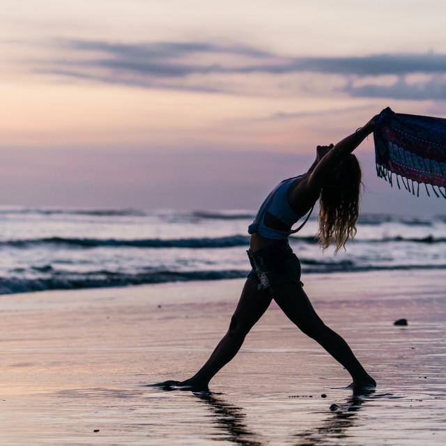 """""""Beach Yoga in Bali"""" stock image"""