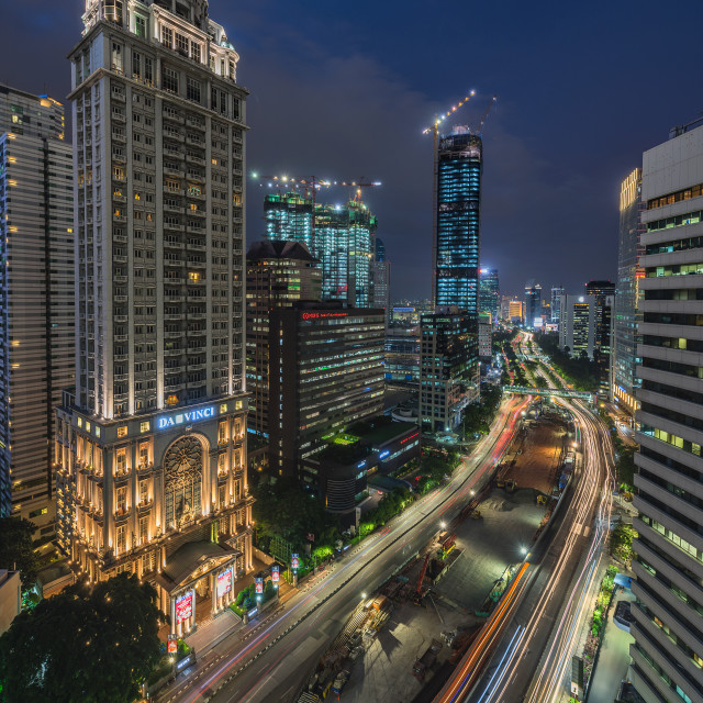 """""""Jakarta: Sudirman business district in the evening"""" stock image"""