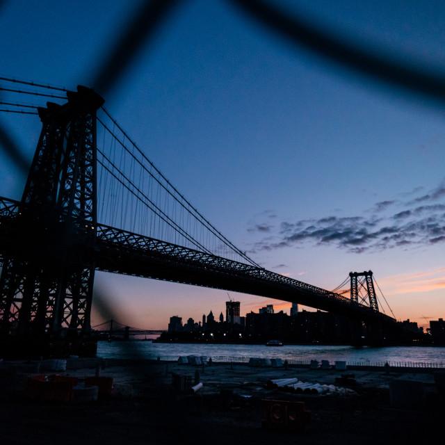 """Williamsburg Bridge at Sunset"" stock image"