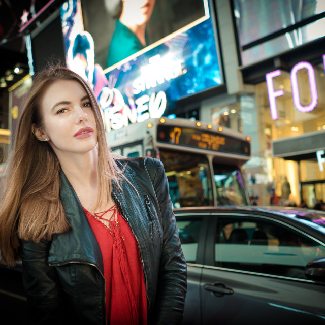 """""""Russian Girl in Times Square"""" stock image"""