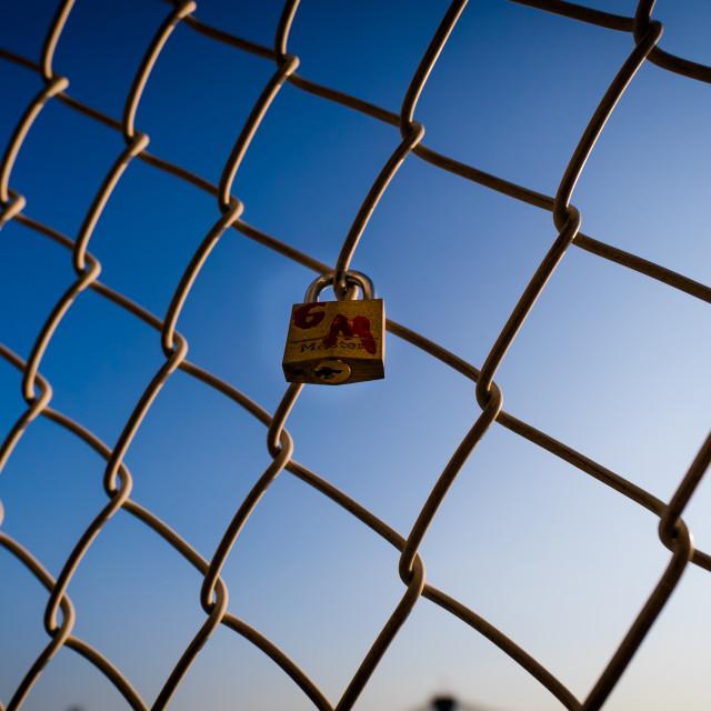 """Lock on Fence"" stock image"
