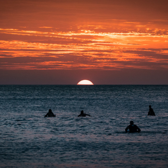 """""""Costa Rica Surfers at Sunset"""" stock image"""
