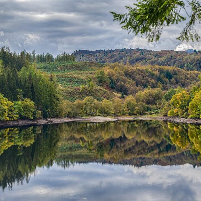 """Loch Drunkie Reflection"" stock image"
