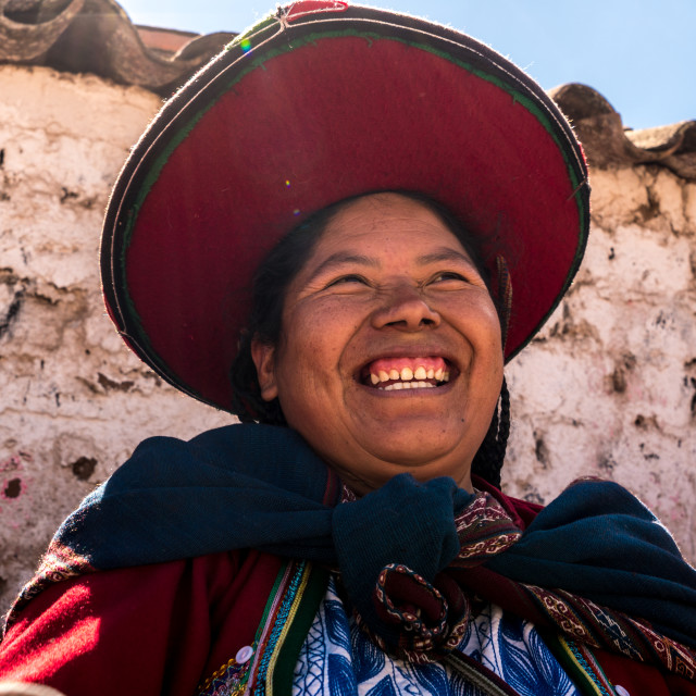 """Peruvian young woman (Quechua lady) in the street of Chinchero, Peru"" stock image"
