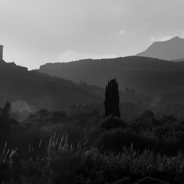 """Bosa Castle, Sardinia B&W."" stock image"