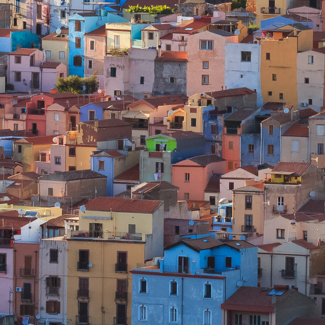 """Brightly coloured houses."" stock image"