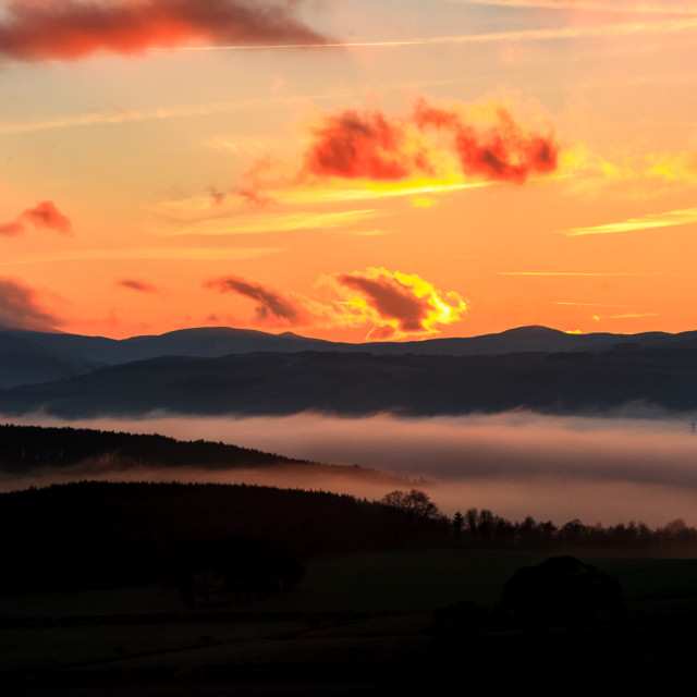 """Cloud inversion , Northumberland, England."" stock image"