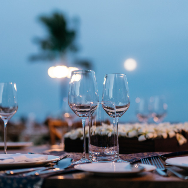"""""""Wine Glasses on Beach Table"""" stock image"""
