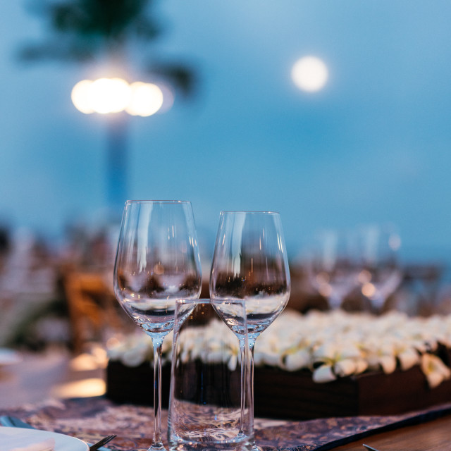 """""""Wine Glasses on Table"""" stock image"""