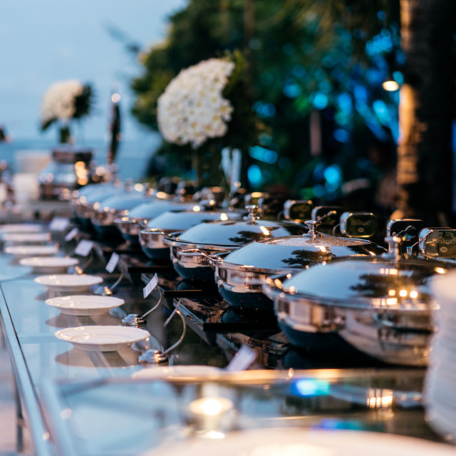"""""""Dinner Buffet in Exotic Locale"""" stock image"""