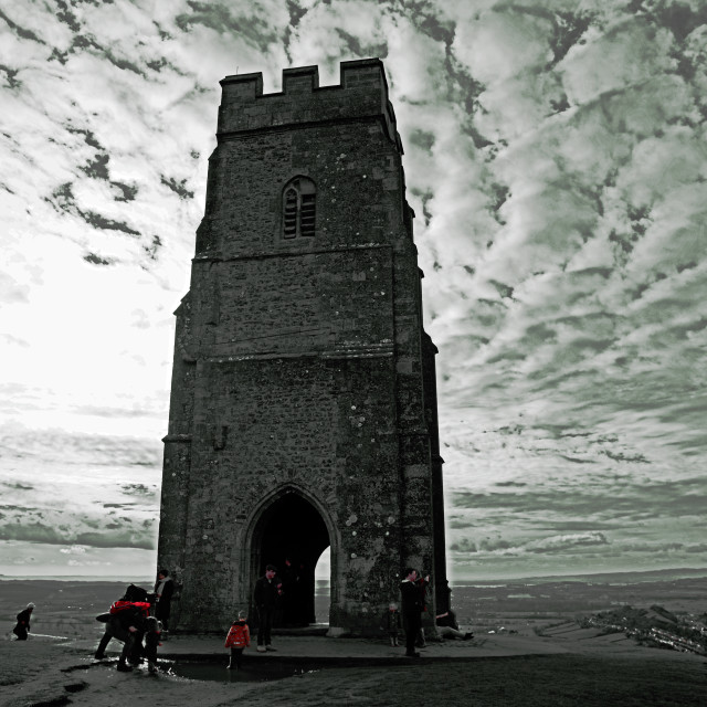 """St Michael's Tower, Glastonbury Tor, Somerset"" stock image"