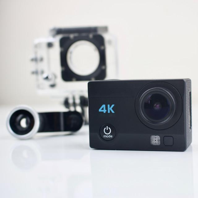 """Black small sport camera 4K"" stock image"