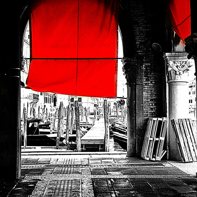 """Venice, fishmarket at Rialto"" stock image"