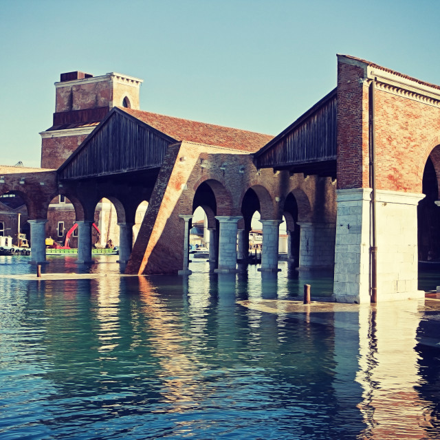 """Venice, Arsenal, Large Dock (Darsena Grande)"" stock image"