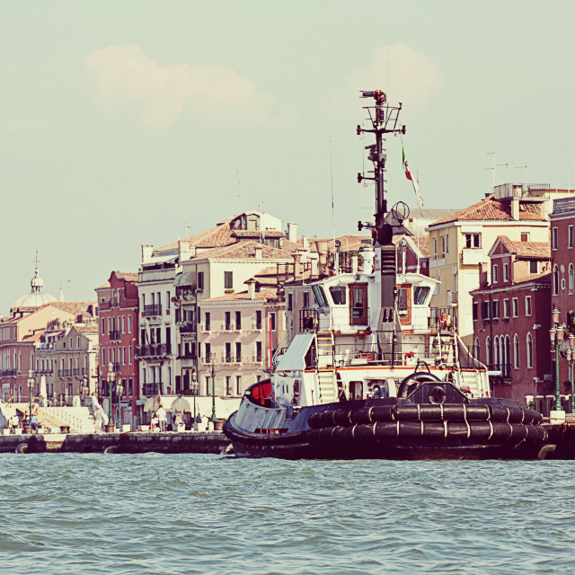 """Venice, Riva degli Schiavoni: panoramic view of the city ancient skyline with..."" stock image"